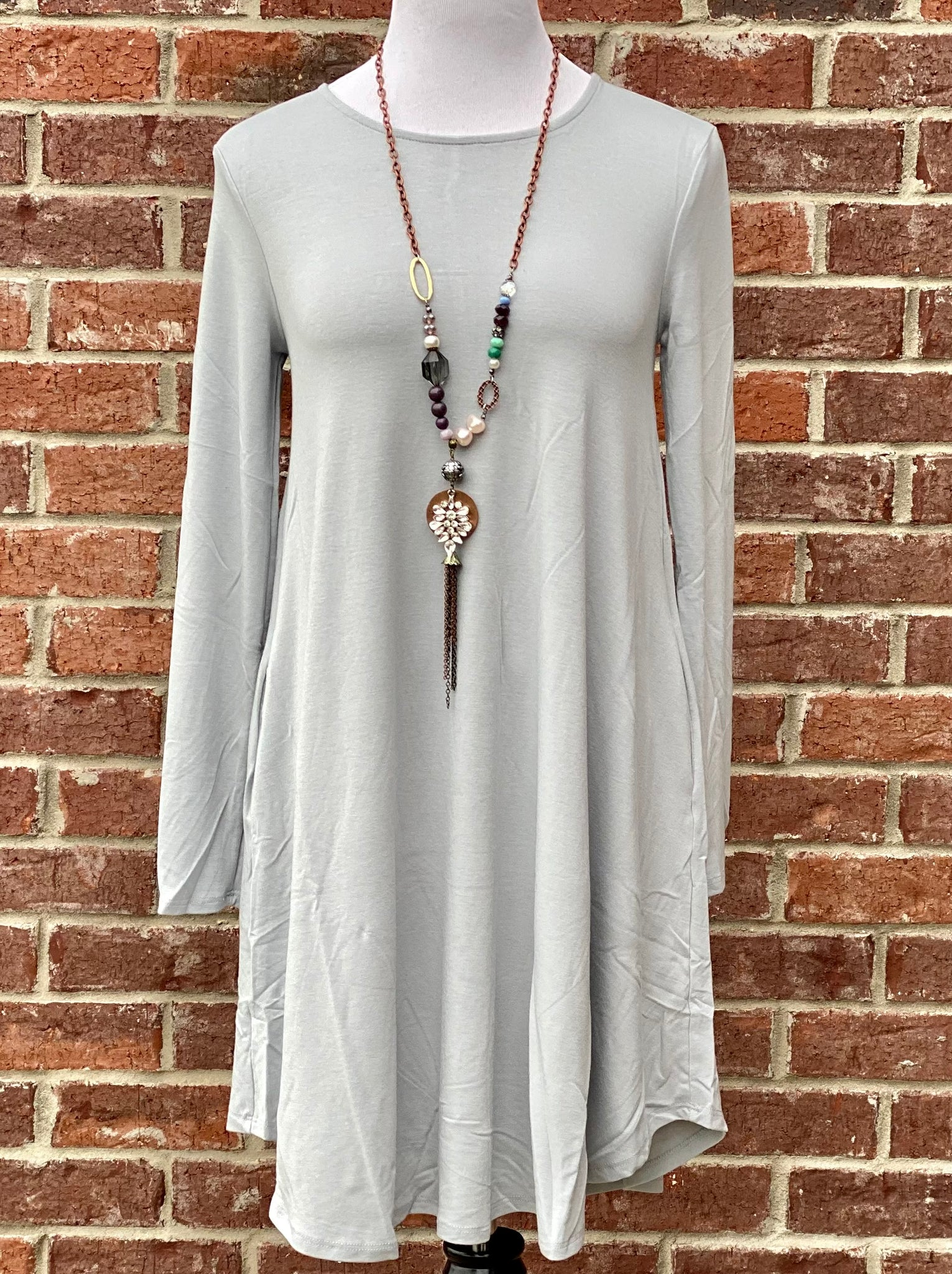 Simple Style Light Grey Long Sleeve Tunic Dress