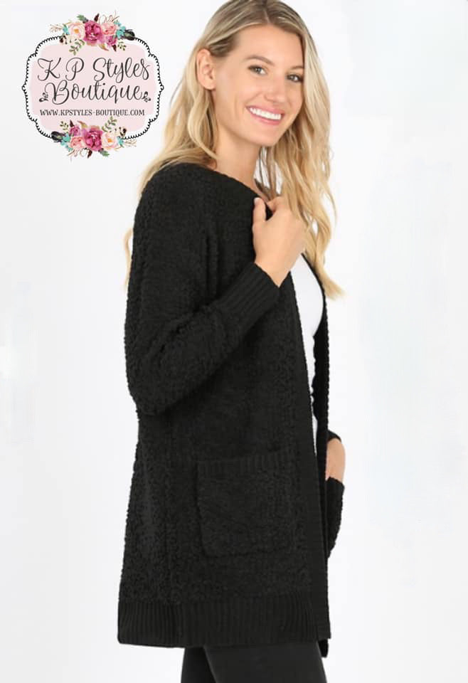 Crushin' on Ya Black Popcorn Cardigan