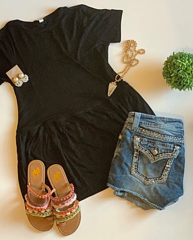 Turn To You Black Ruffle Tee