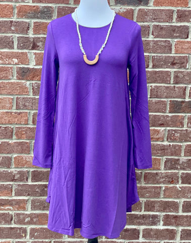 Simple Style Purple Long Sleeve Tunic Dress