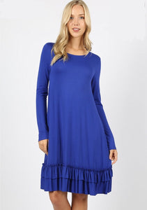 Yours Truly Navy Ruffle Dress