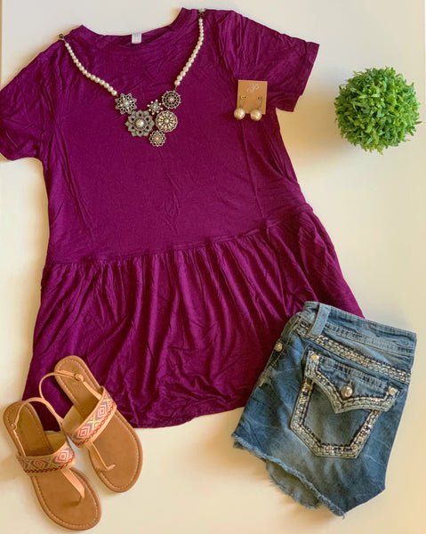 Turn To You Dark Plum Ruffle Tee