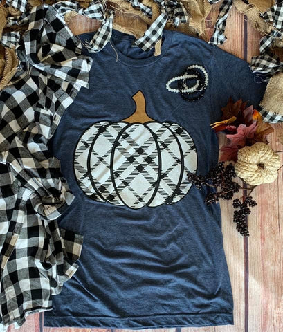 Love Fall Most of All Plaid Pumpkin Tee