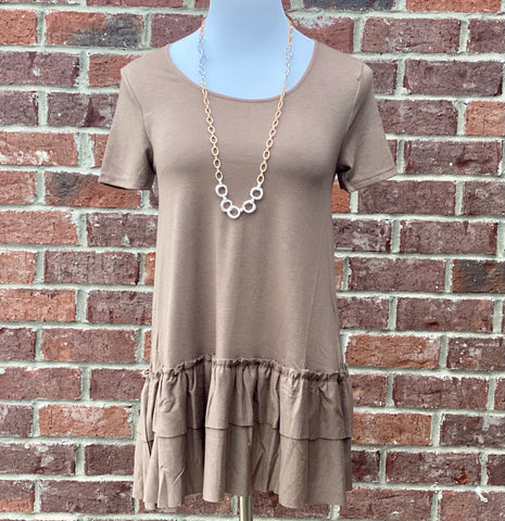 Turn To You Mocha Ruffle Tee
