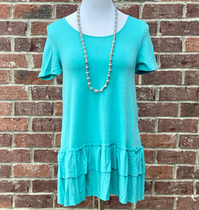 Turn To You Ash Mint Ruffle Tee
