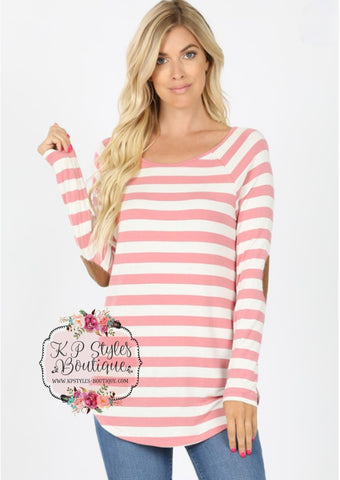 Between The Lines Dusty Rose Striped Top