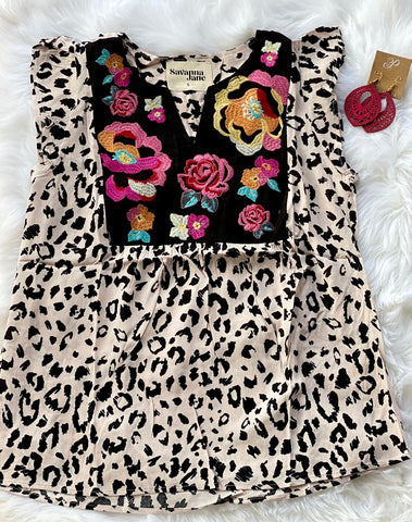 Floral Leopard Embroidered Top