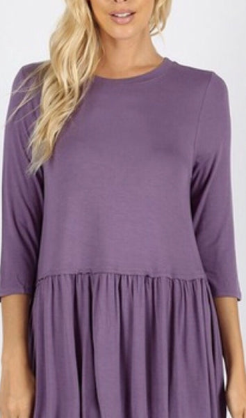 Star Light 3/4 Sleeve Lilac Ruffle Bottom Blouse