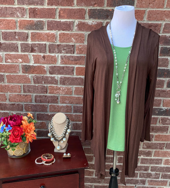 Warmth Delight Brown Long Sleeve Cardigan