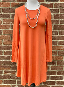 Simple Style Copper Long Sleeve Tunic Dress