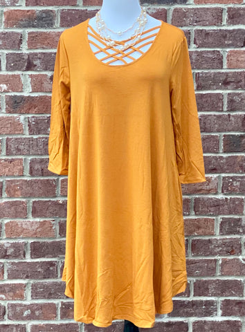 Old Tricks Dark Mustard Lattice Tunic with Pockets {Plus Size}