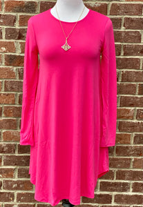 Simple Style Fuchsia Long Sleeve Tunic Dress