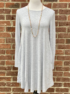 Simple Style Heather Grey Long Sleeve Tunic Dress