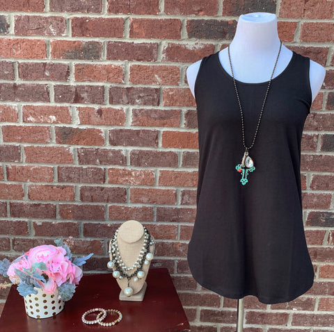 Ask Away Black Sleeveless Tank Top