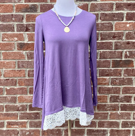 Swayed With Lace Lilac Long Sleeve Top