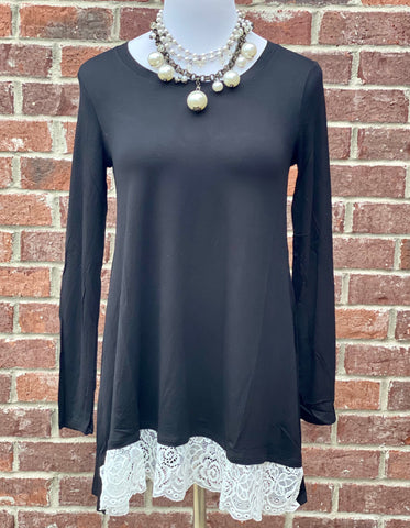 Swayed With Lace Black Long Sleeve Top