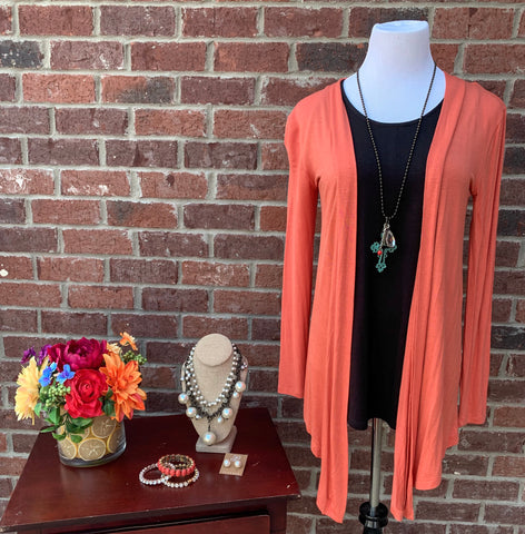 Warmth Delight Ash Copper Long Sleeve Cardigan