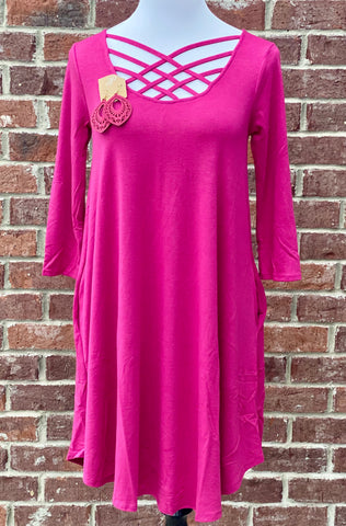 Old Tricks Magenta Lattice Tunic with Pockets