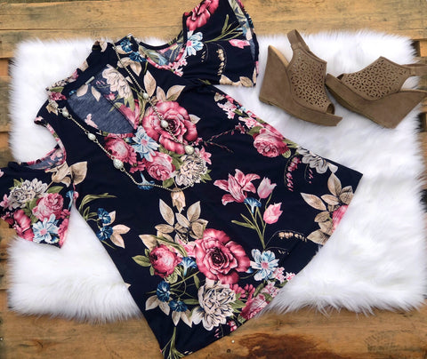 Flirting with Floral Cold Shoulder Top