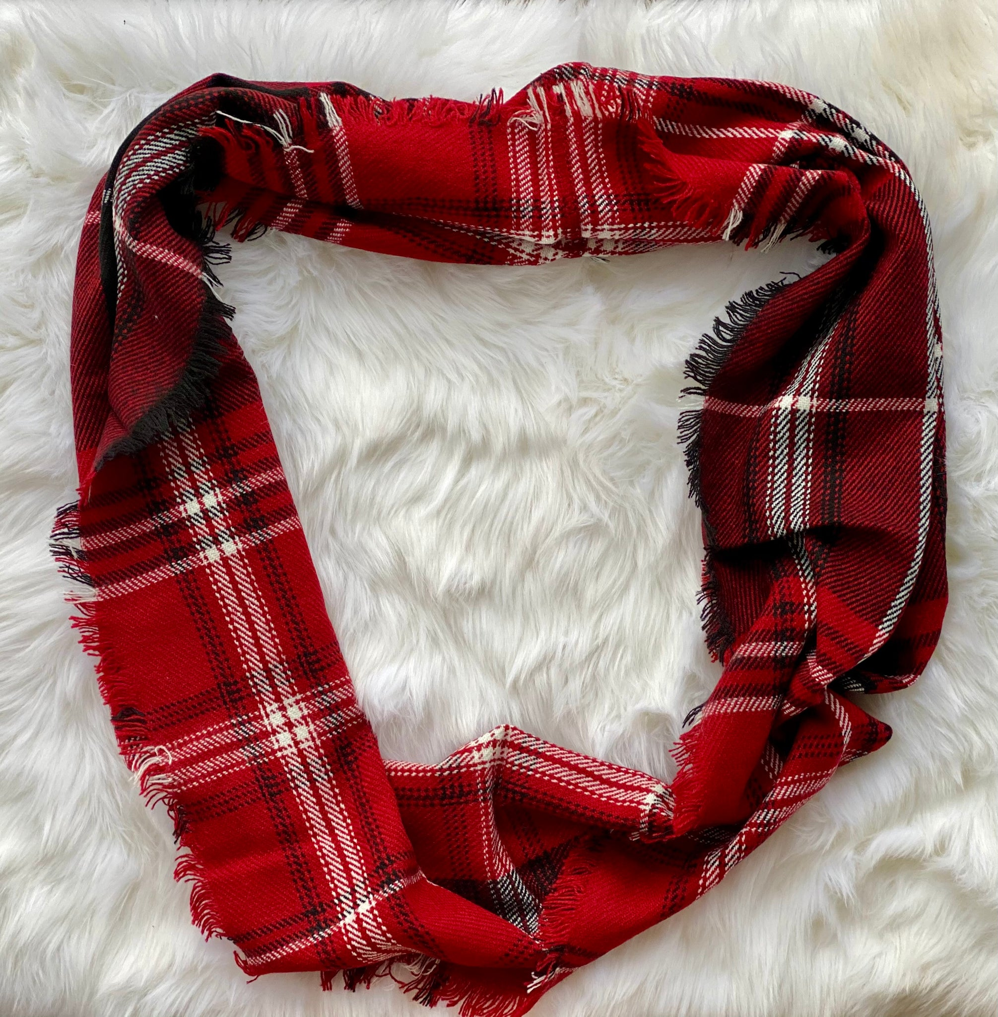 Red Plaid Infinity Blanket Scarf