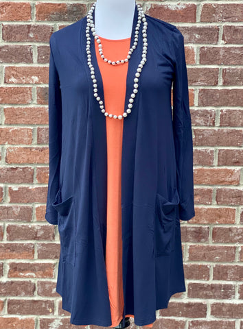 Navy Blue Slouchy Pocket Cardigan