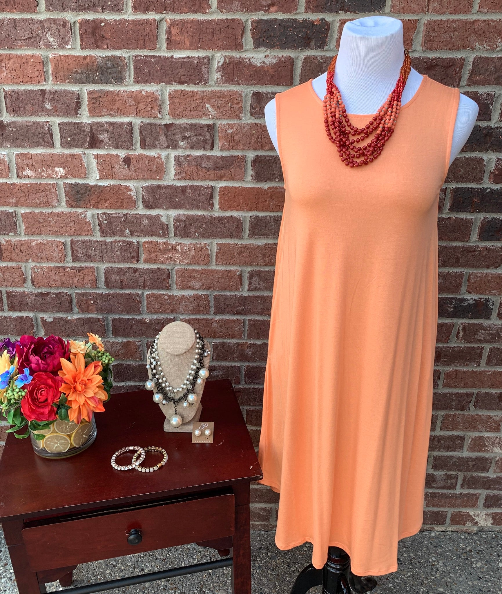 Swing Along Peach Sleeveless Dress