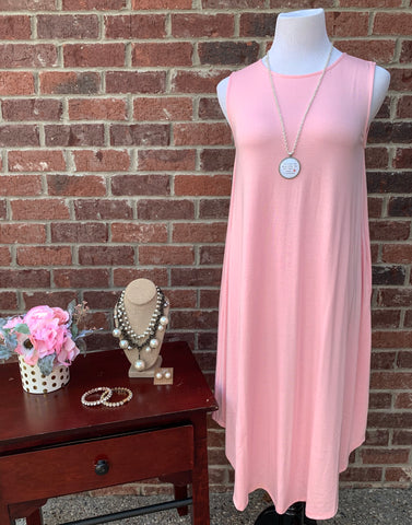 Swing Along Dusty Pink Sleeveless Dress