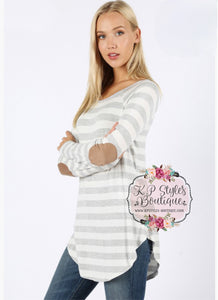 Between The Lines Heather Gray Striped Top