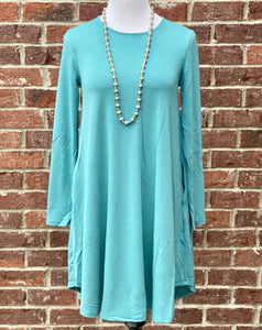 Simple Style Dusty Teal Long Sleeve Tunic Dress