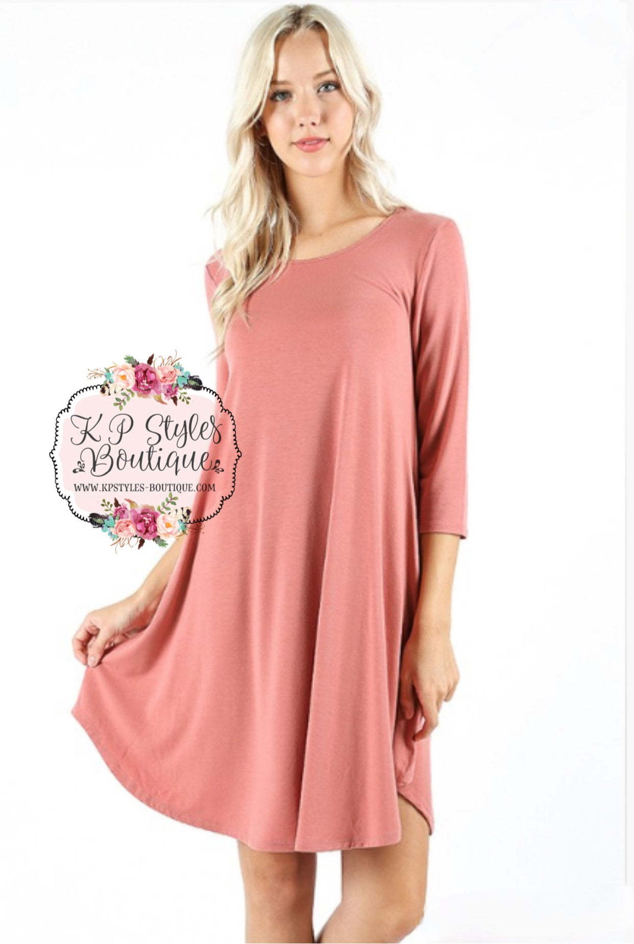 Love Begins Ash Rose 3/4 Sleeve Tunic Dress