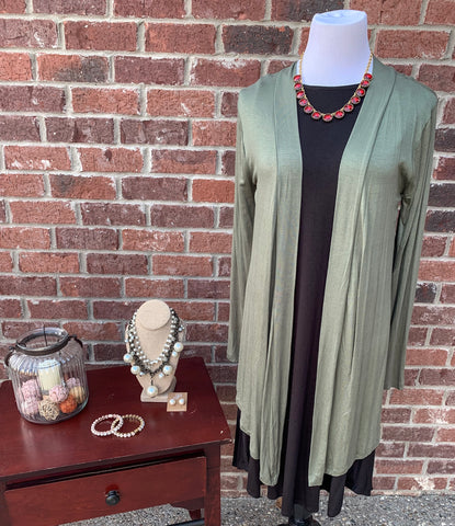 Warmth Delight Light Olive Long Sleeve Cardigan