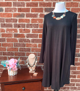 Simple Style Black Long Sleeve Tunic Dress