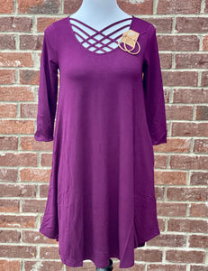 Old Tricks Dark Plum Lattice Tunic with Pockets