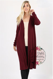 Back In Time Burgundy Cardigan
