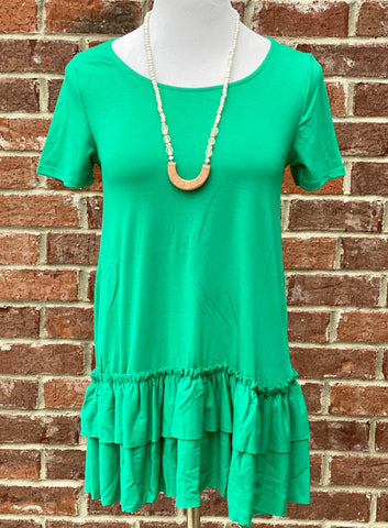 Turn To You Kelly Green Ruffle Tee