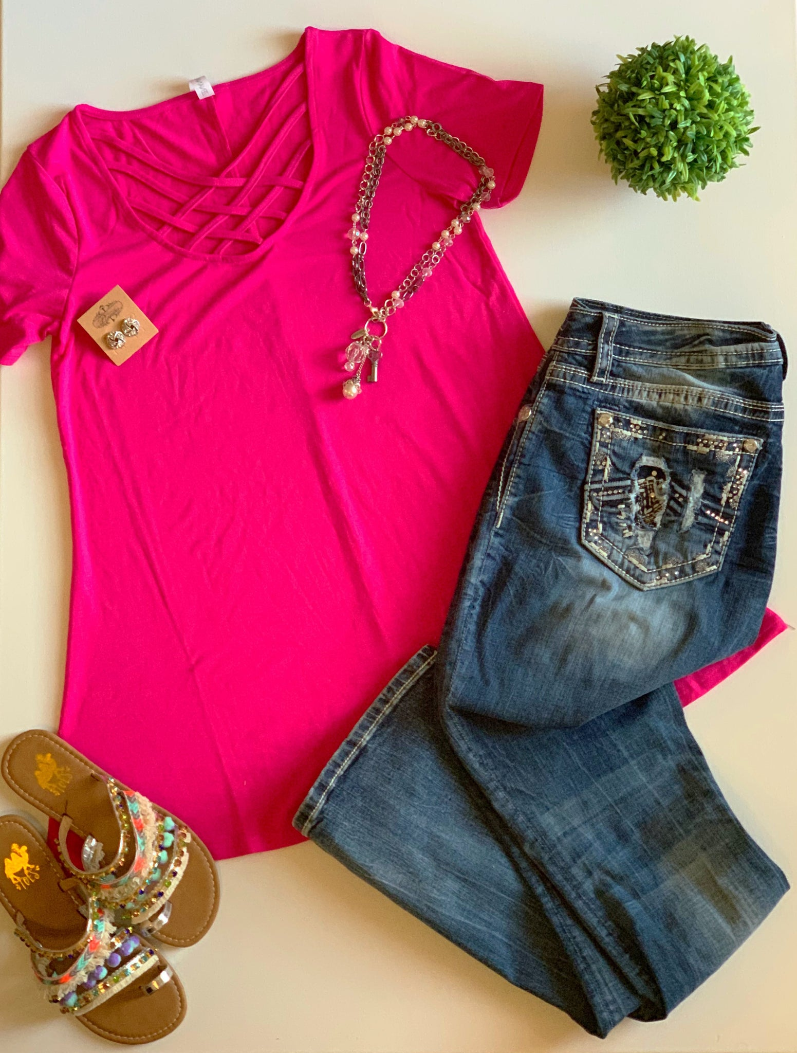 Spice Things Up Hot Pink Lattice Tee