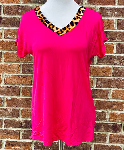 Leopard Tribe Fuchsia Top