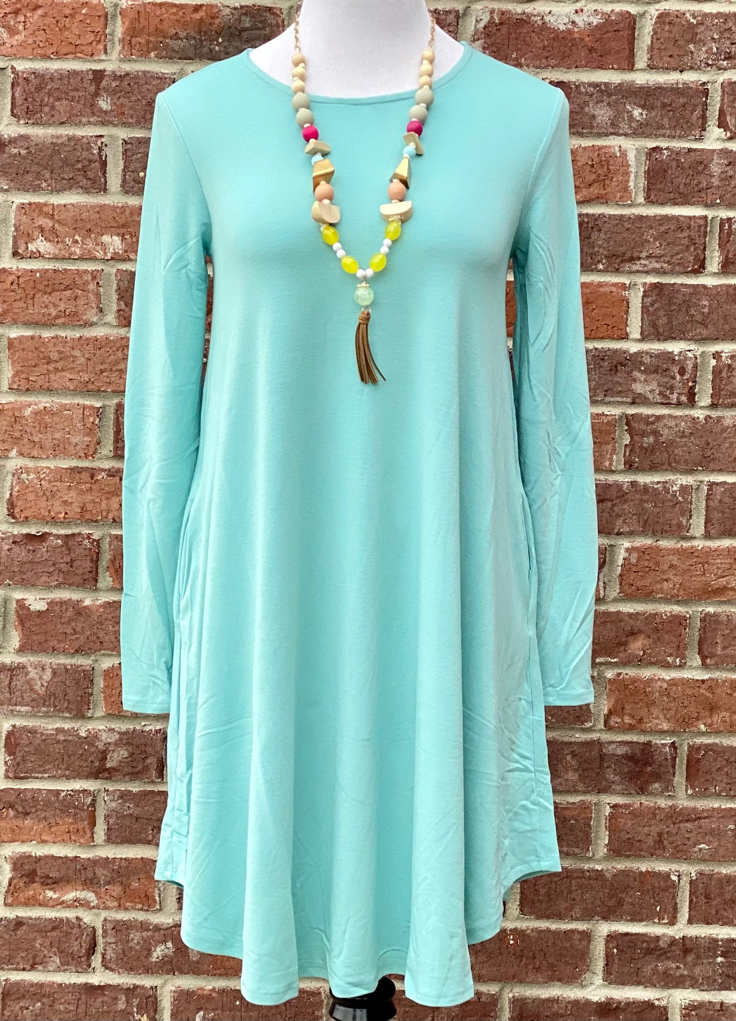 Simple Style Light Mint Long Sleeve Tunic Dress