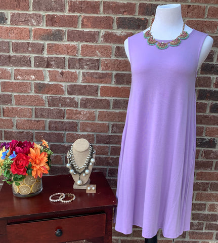 Swing Along Lavender Sleeveless Dress