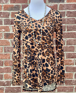 Wild Thing Leopard V-Neck Hi-Low Top