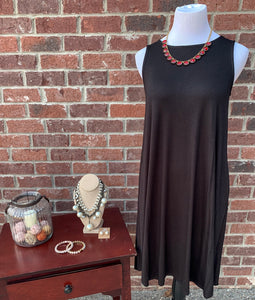 Swing Along Black Sleeveless Dress
