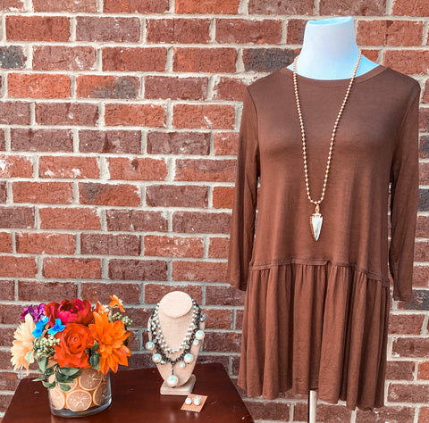 Star Light 3/4 Sleeve Brown Ruffle Bottom Blouse