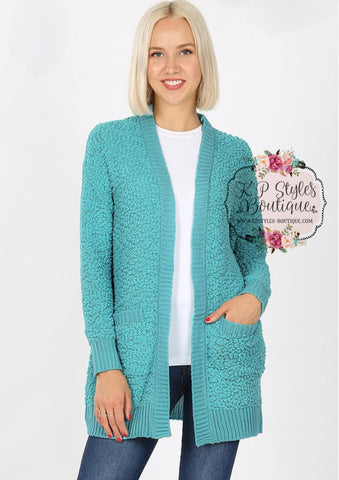 Crushin' on Ya Mint Popcorn Cardigan