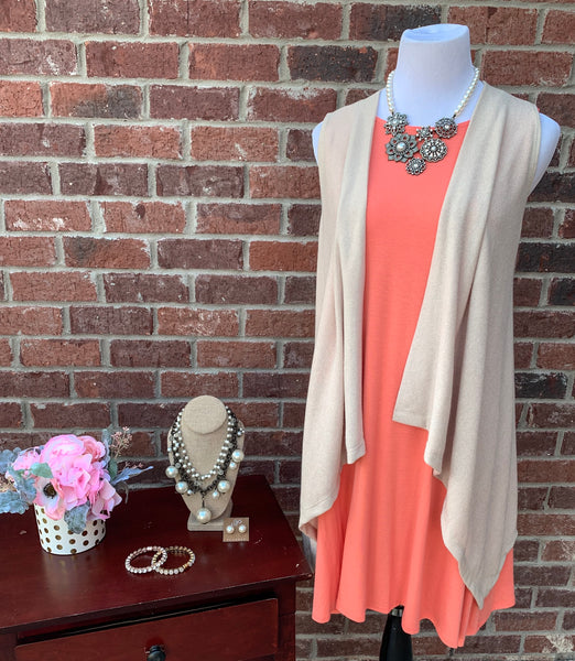 Swing Along Coral Sleeveless Dress