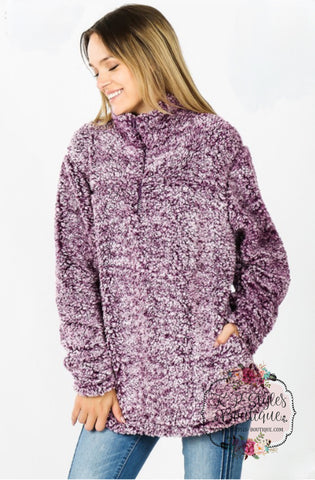 Baby It's Cold Out Plum Frosted Sherpa