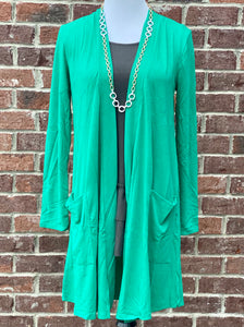 Kelly Green Slouchy Pocket Cardigan