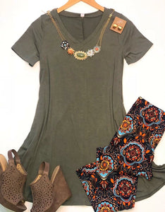 Tried & True Light Olive Vneck Tunic Dress