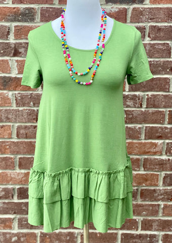 Turn To You Kiwi Green Ruffle Tee