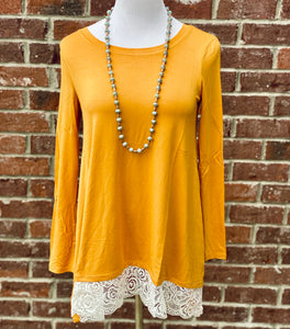 Swayed With Lace Mustard Long Sleeve Top