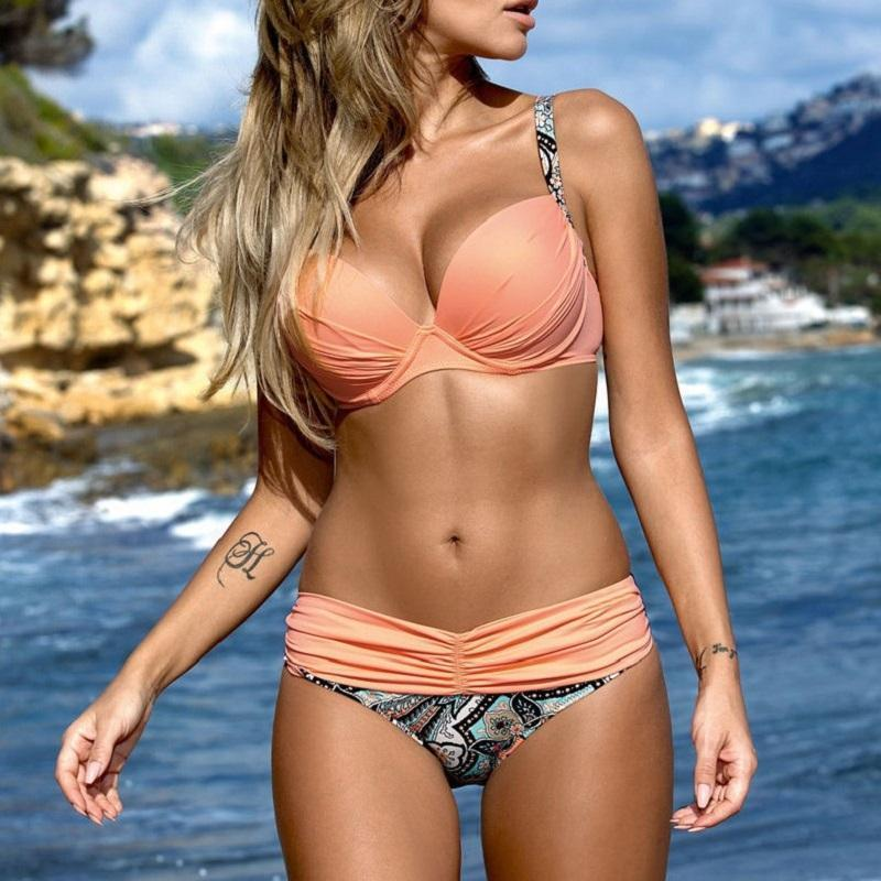 Coral Push-Up Bikini